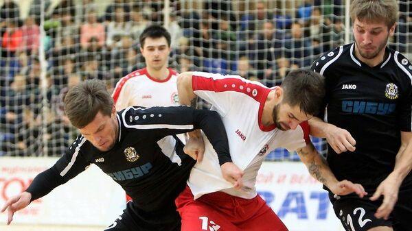 Игровой момент матча чемпионата России по мини-футболу Прогресс - Тюмень