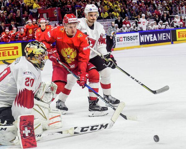 Нападающий сборной России Кирилл Капризов (в центре)