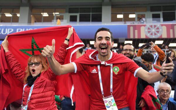 Болельщики перед матчем ЧМ-2018 по футболу между сборными Испании и Марокко