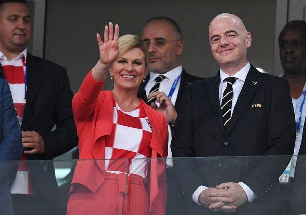 Президент Республики Хорватия Колинда Грабар-Китарович и президент ФИФА Джанни Инфантино