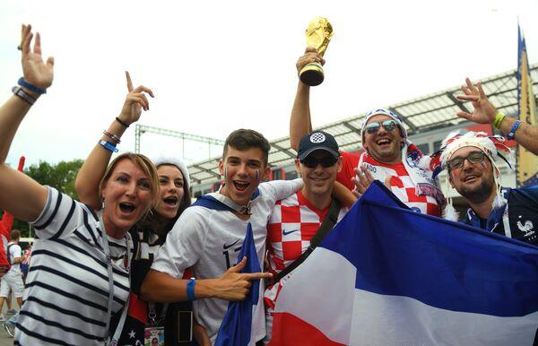 Болельщики перед финальным матчем Франция - Хорватия