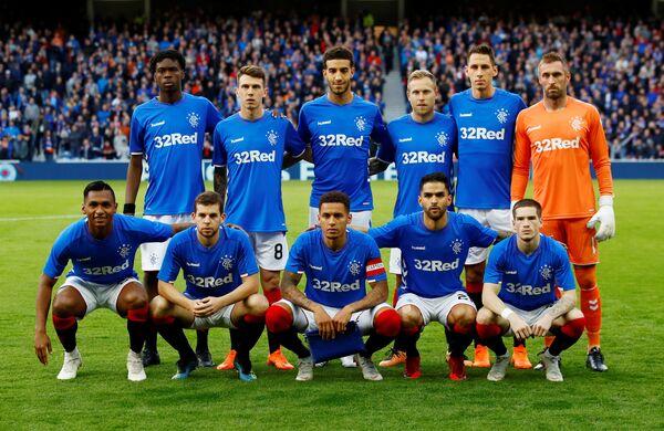 Футболисты Рейнджерс перед матчем с Уфой в Лиги Европы