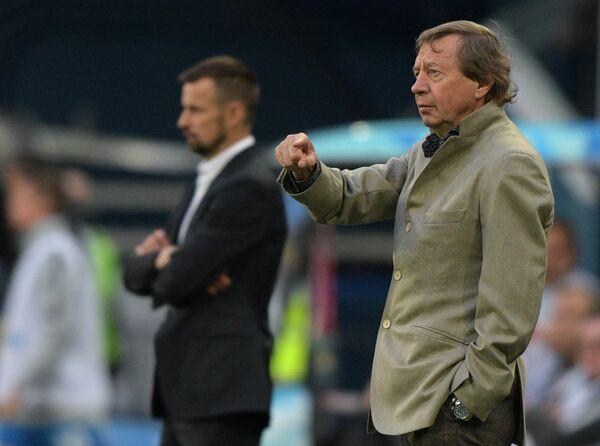 Главный тренер Зенита Сергей Семак и главный тренер Локомотива Юрий Семин (слева направо)