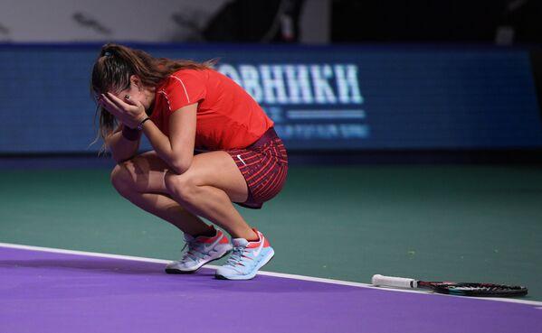 Дарья Касаткина радуется победе в финале ВТБ Кубка Кремля