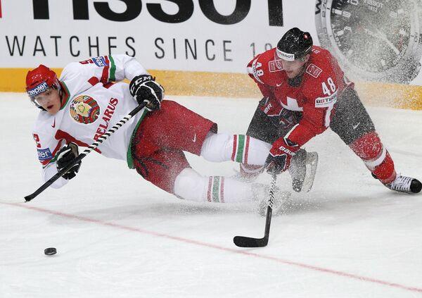 Игровой момент матча Швейцария - Белоруссия