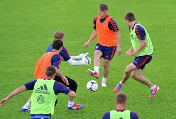Тренировка сборной России в Ньоне