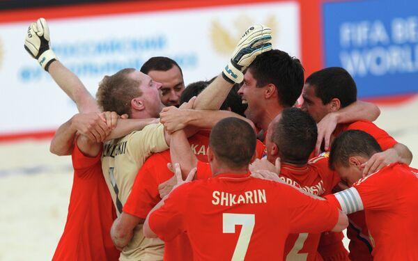 Игроки сборной России по пляжному футболу