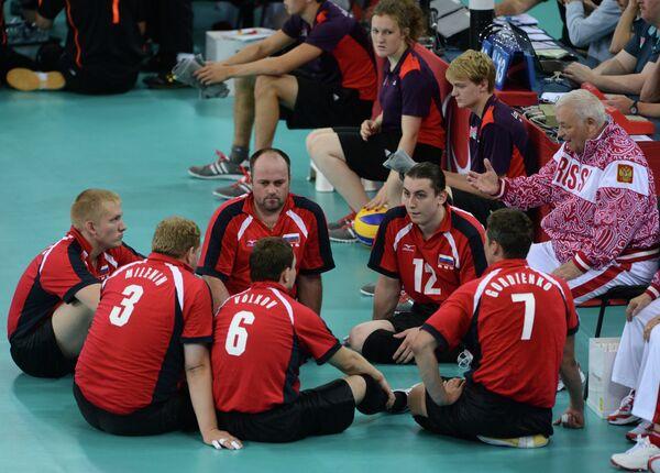 Российские спортсмены во время матча Россия - Германия