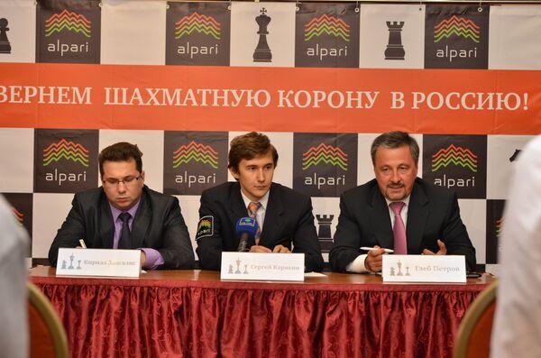 Кирилл Зангалис, Сергей Карякин и  Глеб Петров (слева на право)