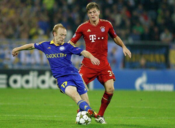 Игровой момент матча БАТЭ - Бавария