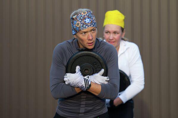 Тренировка женской сборной России по биатлону