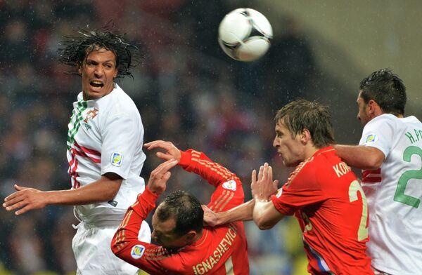 Игровой момент матча  Россия – Португалия