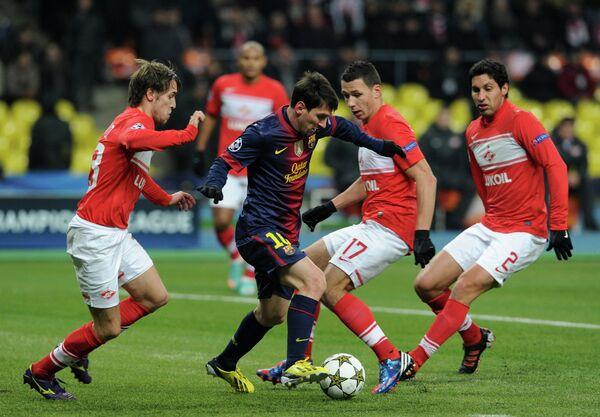Игровой момент матча Спартак - Барселона