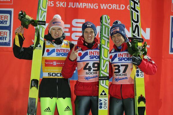 Северин Фройнд , Грегор Шлиренцауэр и Андреас Кофлер (слева направо)