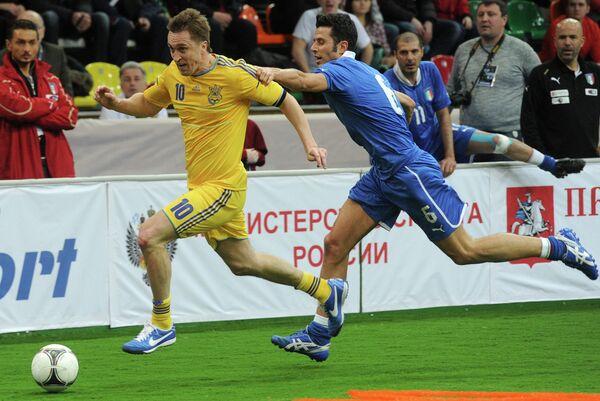Игровой момент матча сборных команд Украины и Италии