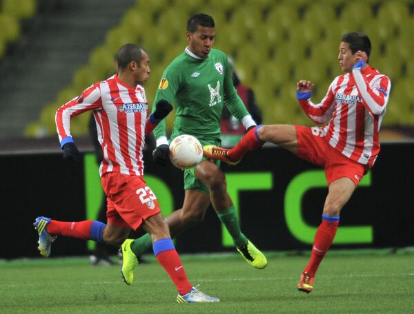Игровой момент матча Рубин - Атлетико