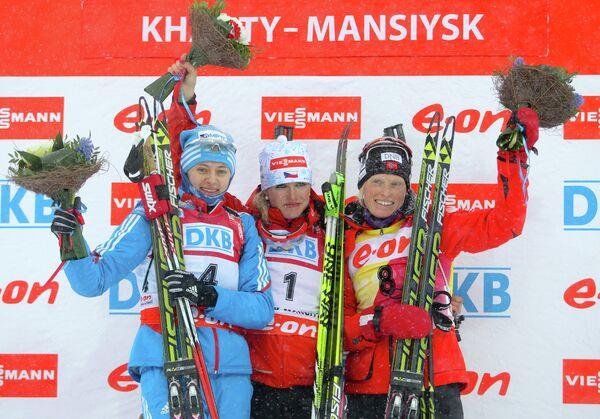 россиянка Ольга Вилухина (2-е место), чешка Габриэла Соукалова (1-е место), норвежка Тура Бергер (3-е место)енщины