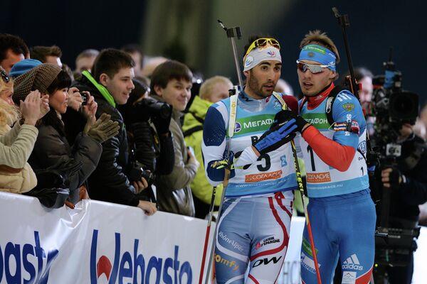 Антон Шипулин и Мартен Фуркад (справа налево)