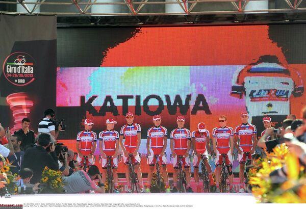 Велокоманда Катюша на презентации Джиро