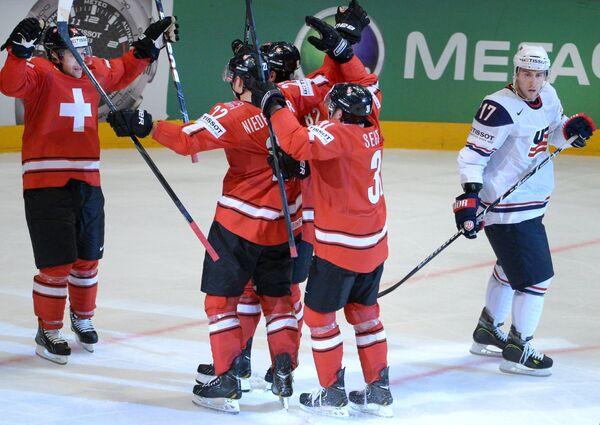 Игровой момент матча Швейцария - США