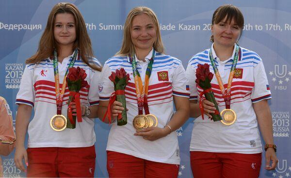Российские спортсменки Дарья Данилина, Любовь Яскевич и Екатерина Коршунова (слева направо)