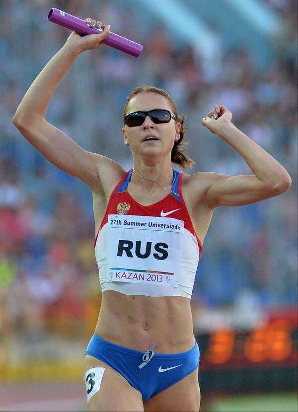 Ксения Усталова (Россия) в финальном забеге эстафеты 4х400 м