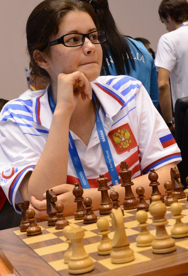 Российская спортсменка Анастасия Боднарук в матче первого тура женского шахматного турнира