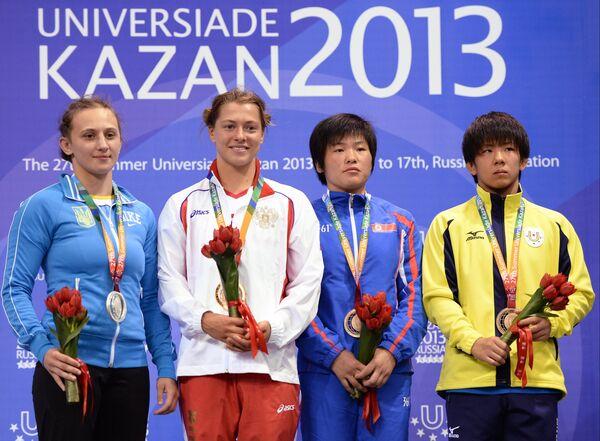 ризеры женского турнира по вольной борьбе в весовой категории до 55кг на Универсиаде 2013