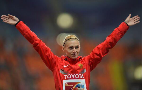 Антонина Кривошапка (Россия), завоевавшая бронзовую медаль в забеге на 400 м