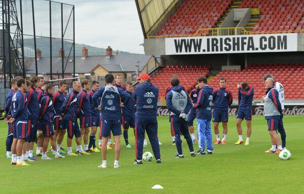 Тренировка сборной России по футболу в Белфасте