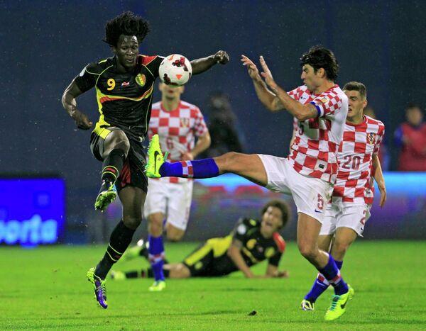 Игровой момент матча Хорватии и Бельгии