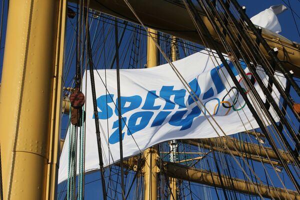 Флаг с символикой Олимпийских зимних игр в Сочи 2014