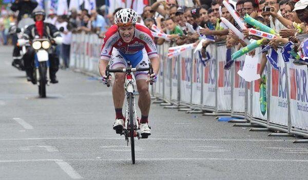 Российский велогонщик Русвело Евгений Ковалев