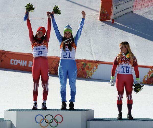 Доминика Гизин (Швейцария) - золотая медаль, Тина Мазе (Словения) - золотая медаль, Лара Гут