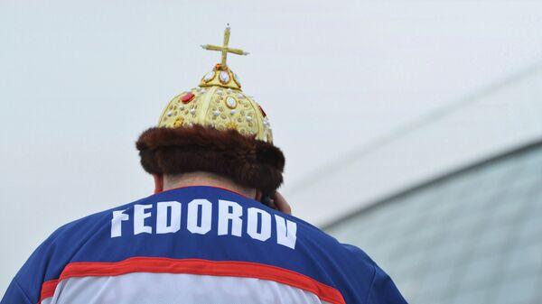 Болельщик во время матча группового этапа между сборными командами России и Словакии