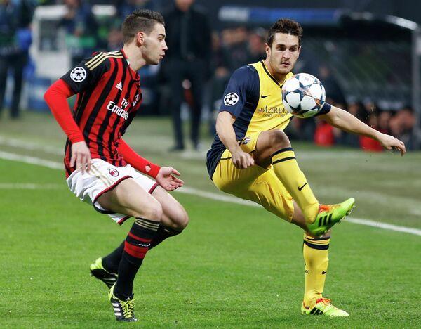 Игровой момент матча Милан - Атлетико