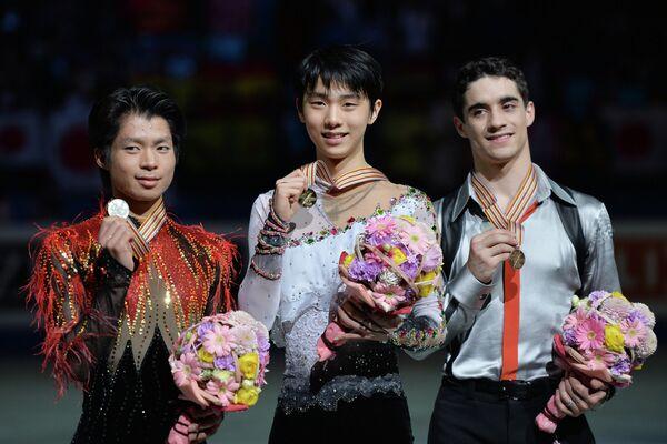 Тацуки Матида, Юдзуру Ханю и Хавьер Фернандес (слева направо)