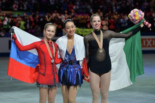 Юлия Липницкая (Россия) - серебряная медаль, Мао Асада (Япония) - золотая медаль, Каролина Костнер