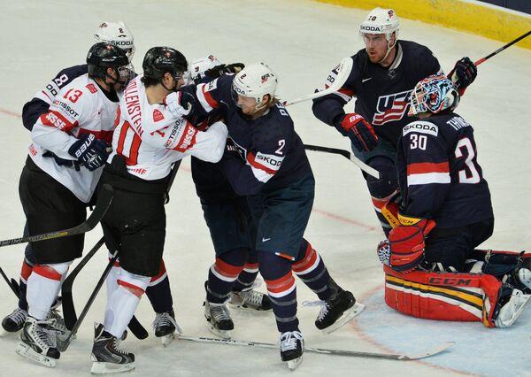 Игровой момент матча США - Швейцария