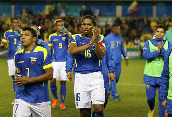 Футболисты сборной Эквадора во главе с капитаном Антонио Валенсией (в центре) и Джефферсоном Монтеро
