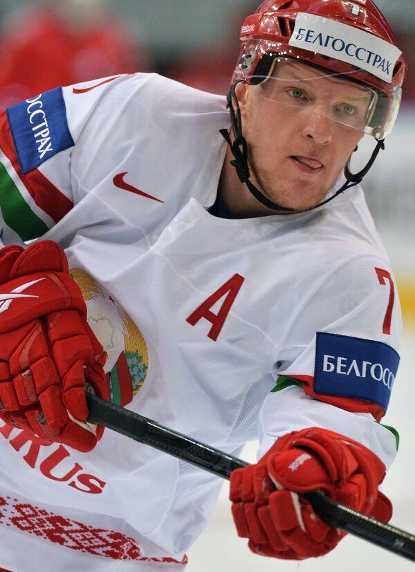 Защитник сборной Белоруссии по хоккею Владимир Денисов