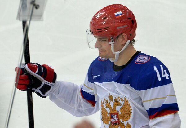 Защитник сборной России Александр Кутузов, автор третьего гола в ворота французов