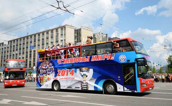 Чествование сборной России по хоккею в Москве
