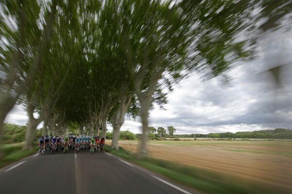 Группа велогонщиков преодолевает участок пятнадцатого этапа Тур де Франс между городами Таллар и Ним