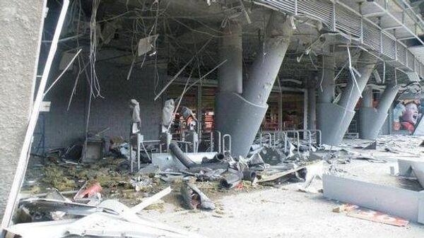 Вид на стадион Донбасс Арена после попадания бомбы