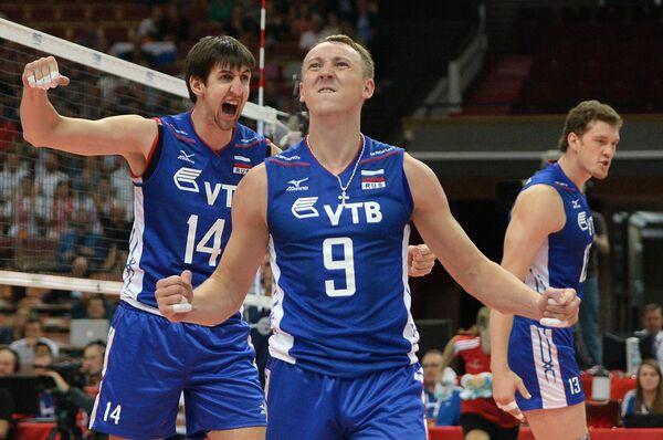 Волейболисты сборной России Артем Вольвич, Алексей Спиридонов и Дмитрий Мусэрский (слева направо)