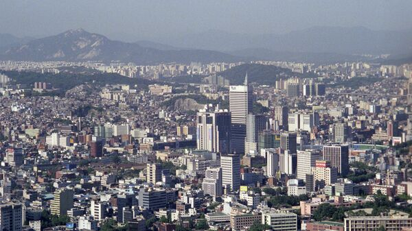 Вид на город Сеул с горы Намсан