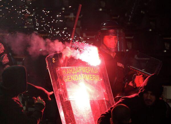 Сербская полиция на матче Партизан - Црвена Звезда
