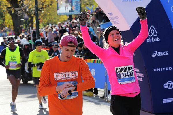 Каролина Вознякци на финише нью-йоркского марафона