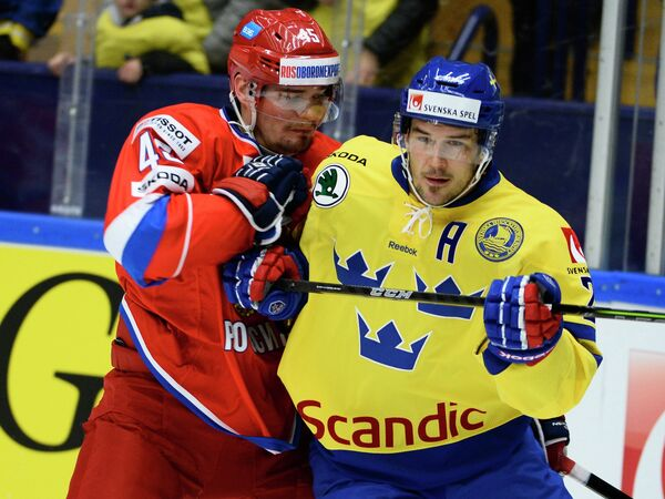 Игровой момент матча Швеция - Россия